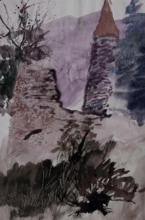 """Bild: """"Altes Gemäuer"""", W. Krisai, 1996: Aquarell, digital nachbearbeitet."""